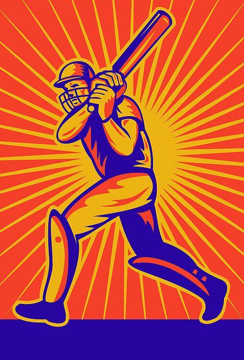 Cricket Sports Batsman Batting Print by Aloysius Patrimonio