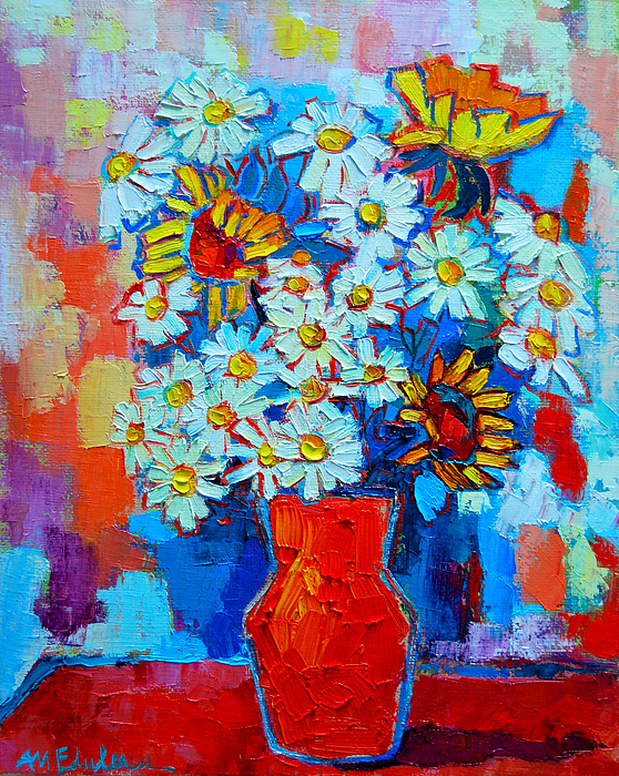 Daisies And Sunflowers Print by Ana Maria Edulescu