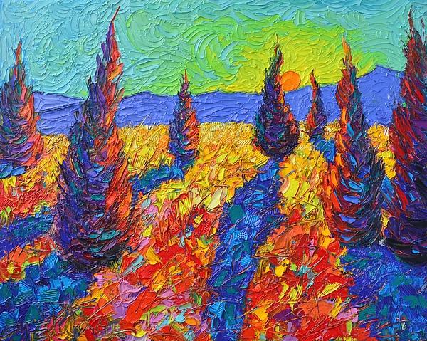 Ana Maria Edulescu - Dancing Trees Sunrise Abstract Landscape Impressionist Palette Knife Painting By Ana Maria Edulescu