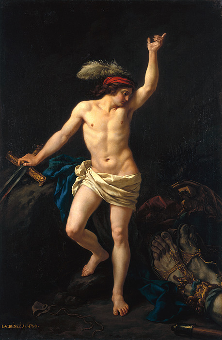 David Victorious Print by Jean Jacques II Lagrenee