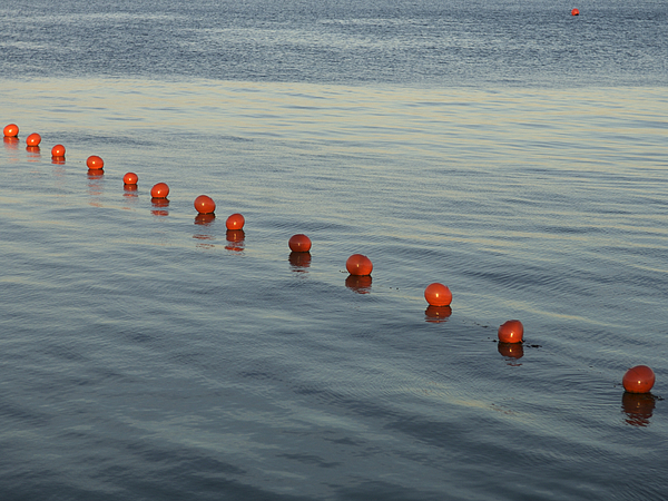 Denmark Red Safety Balls Floating Print by Keenpress