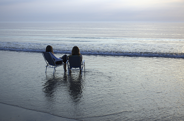 Denmark, Romo, Two Young Women Relaxing Print by Keenpress