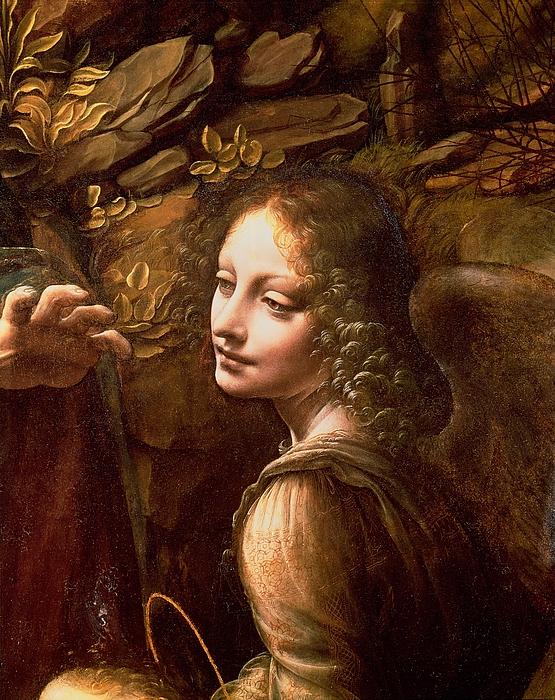 Detail Of The Angel From The Virgin Of The Rocks  Print by Leonardo Da Vinci