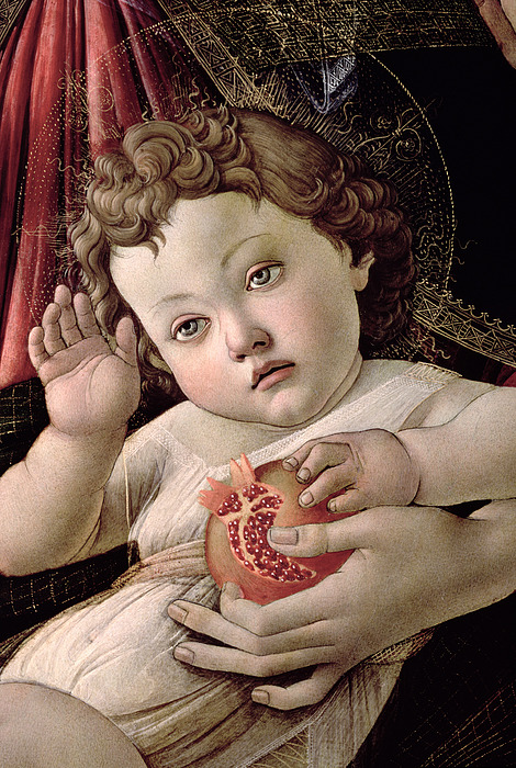 Detail Of The Christ Child From The Madonna Of The Pomegranate Print by Sandro Botticelli