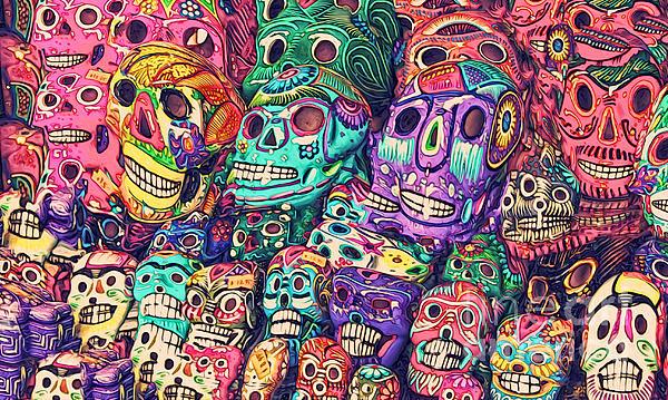 Dia De Los Muertos Sugar Skulls Print by Gregory Dyer