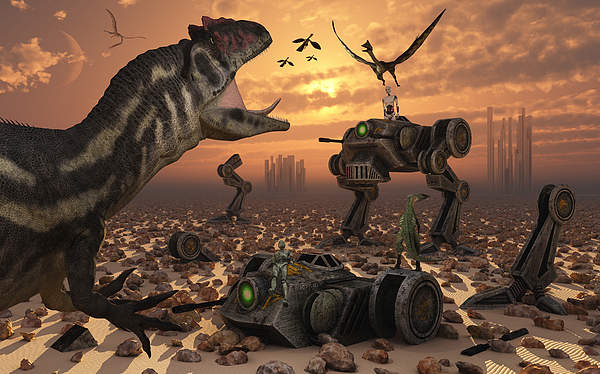 Dinosaurs And Robots Fight A War Print by Mark Stevenson