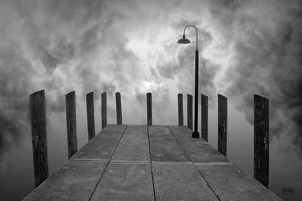 Dock And Clouds Print by Dave Gordon