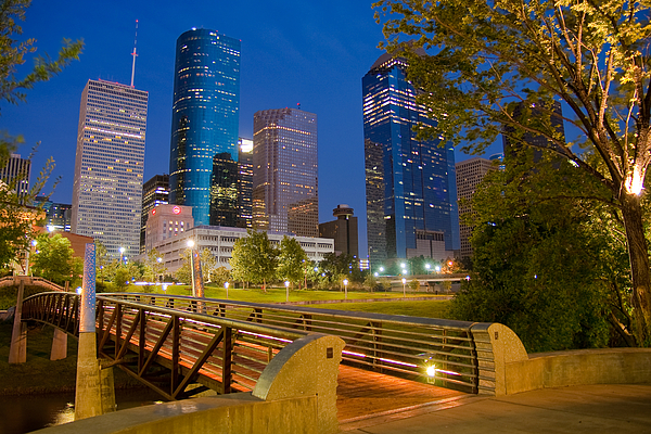 Dowtown Houston By Night Print by Olivier Steiner