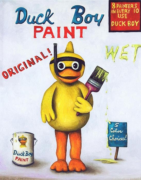 Duck Boy Paint Print by Leah Saulnier The Painting Maniac