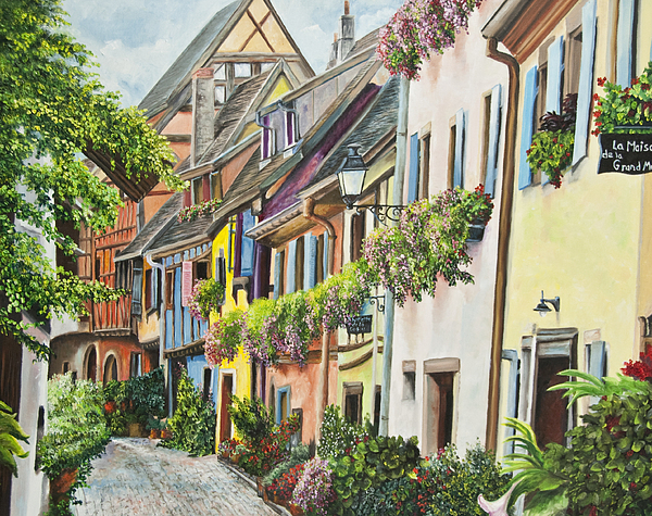 Eguisheim In Bloom Print by Charlotte Blanchard