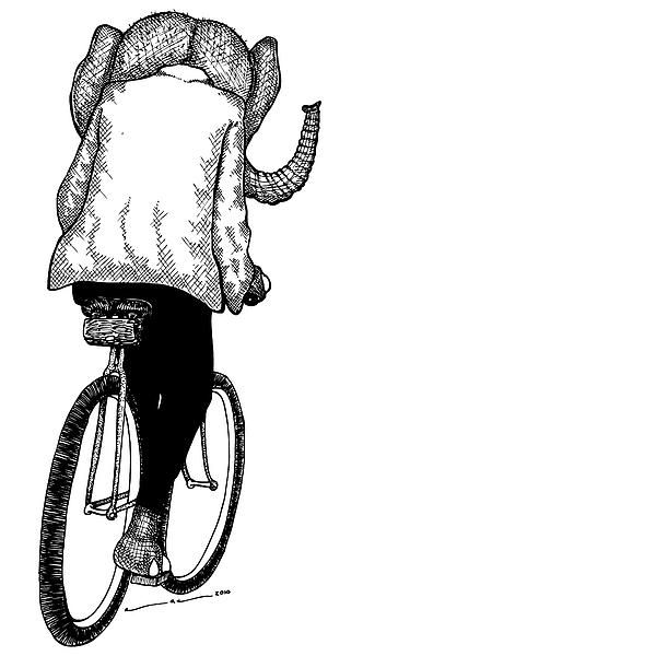 Elephant Bike Rider Print by Karl Addison
