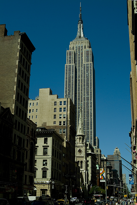 Empire State Building Seen From Street Print by Todd Gipstein