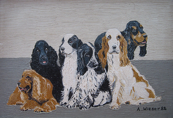 English Cocker Spaniel Family Print by Antje Wieser