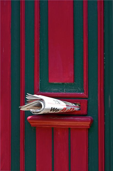 Entrance Door And Newspaper Print by Heiko Koehrer-Wagner