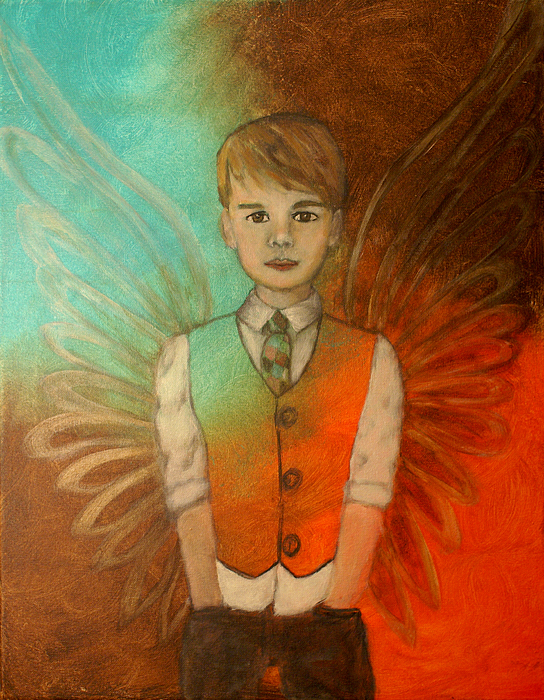 Ethan Little Angel Of Strength And Confidence Print by The Art With A Heart By Charlotte Phillips