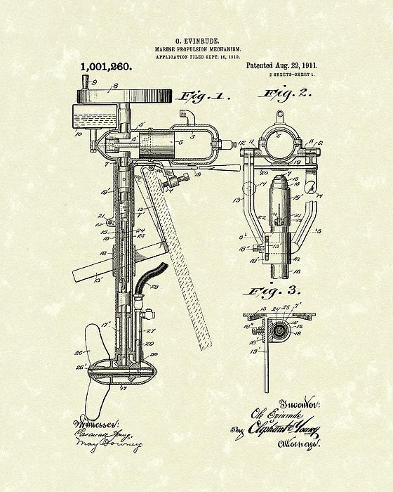 Evinrude Boat Motor 1911 Patent Art Print by Prior Art Design