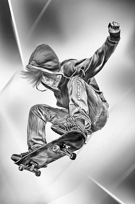 Extreme Skateboard Jump Print by Julie L Hoddinott