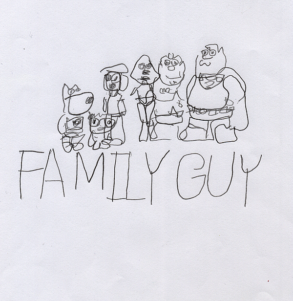 Family Guy Pencil Sketch Print by Vincent Gitto