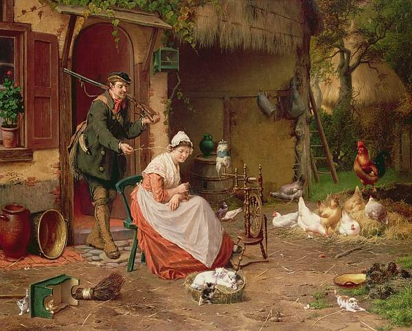Farmyard Scene Print by Jan David Cole