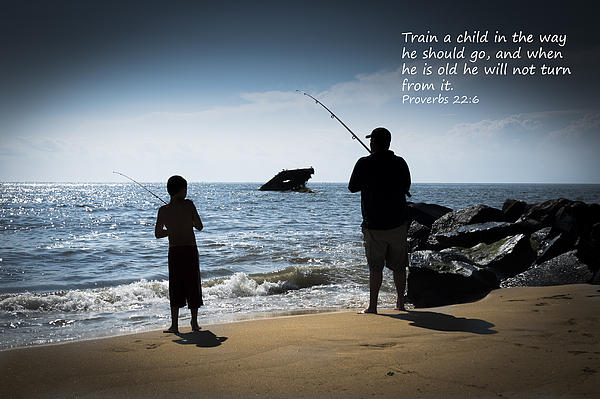 Father and son fishing at sunset beach inspirational for Bible verses about fish