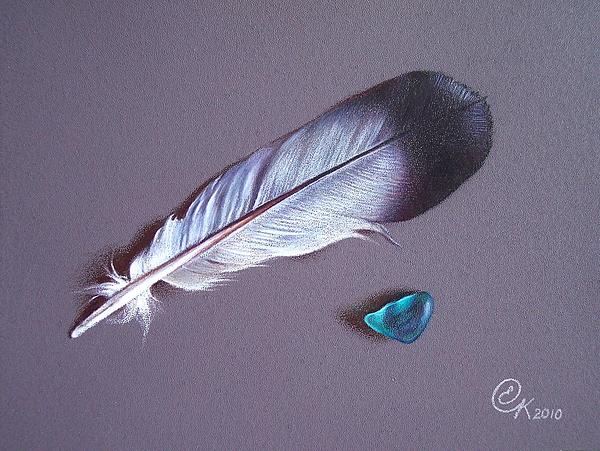 Feather And Sea Glass 1 Print by Elena Kolotusha
