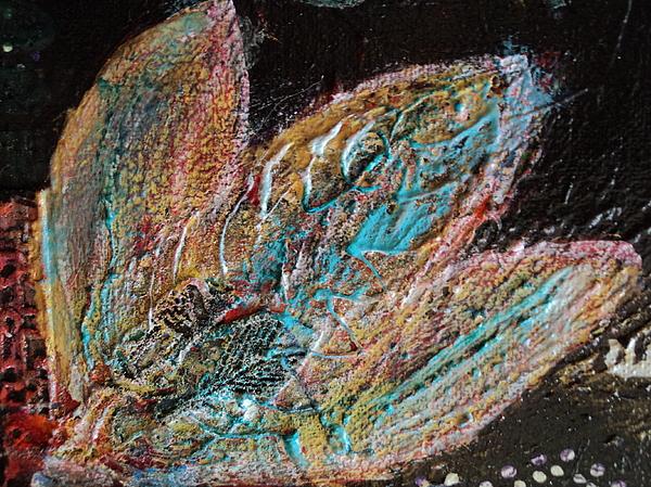 Feathery Leaves In Fantasy Blues Print by Anne-Elizabeth Whiteway