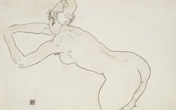 Female Nude Kneeling And Bending Forward To The Left Print by Egon Schiele