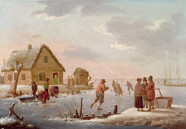 Figures Skating In A Winter Landscape Print by Hendrik Willem Schweickardt
