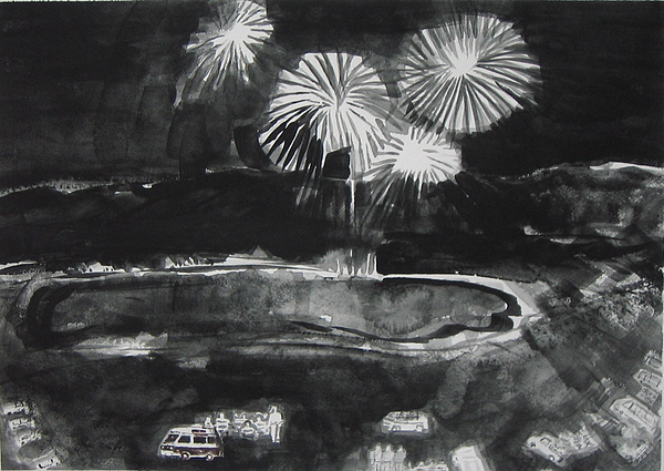 Fireworks At Eagle Nest Lake...0oohh..aahh.. Print by Laurie Hill Phelps