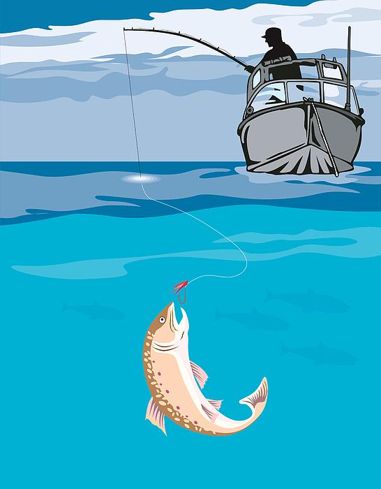 Fisherman Fishing Trout Fish Retro Print by Aloysius Patrimonio