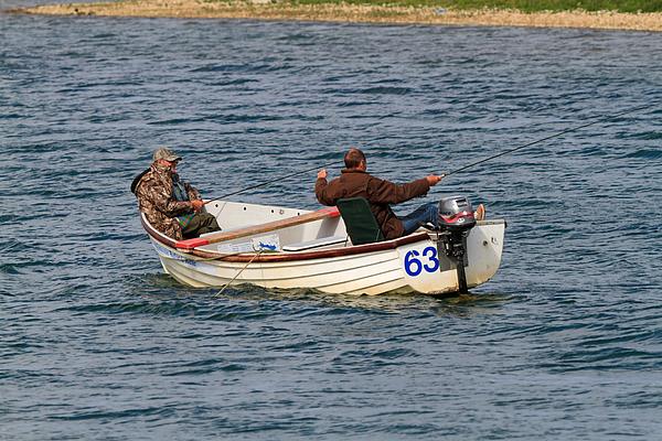 Fishermen In A Boat Print by Louise Heusinkveld