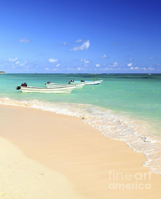 Fishing Boats In Caribbean Sea Print by Elena Elisseeva