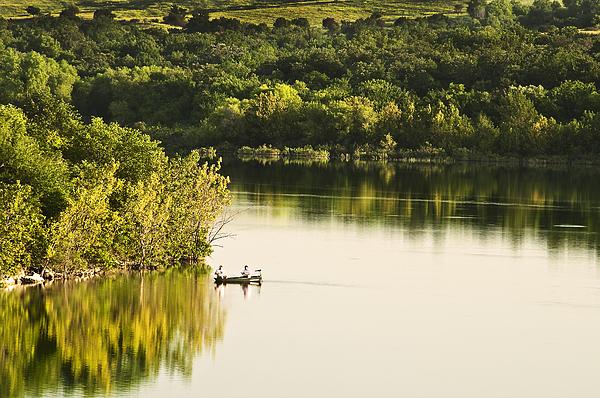 Fishing On Mountain Lake Print by Tamyra Ayles