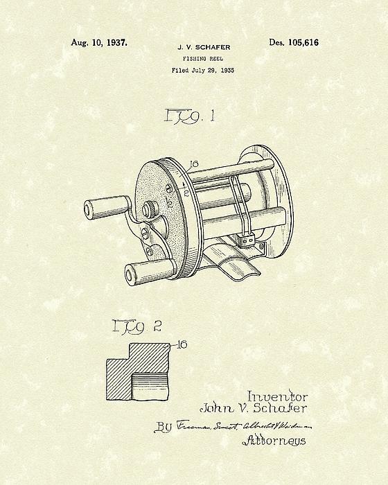 Fishing Reel 1937 Patent Art Print by Prior Art Design