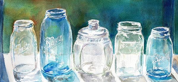 Five Jars In Window Print by Sukey Jacobsen