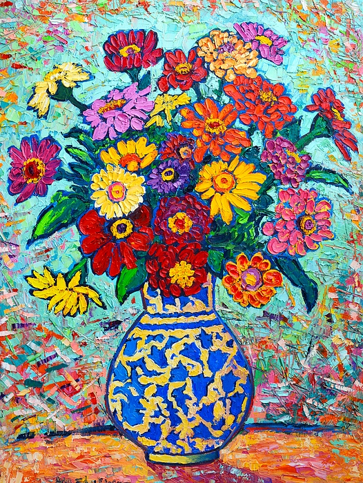Flowers - Colorful Zinnias Bouquet Print by Ana Maria Edulescu