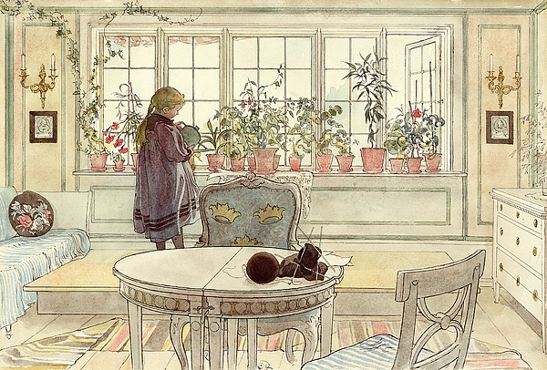 Flowers On The Windowsill Print by Carl Larsson