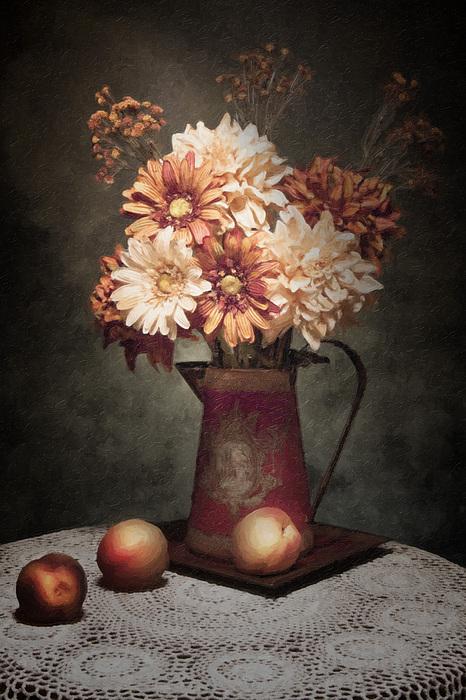 Flowers With Peaches Still Life Print by Tom Mc Nemar