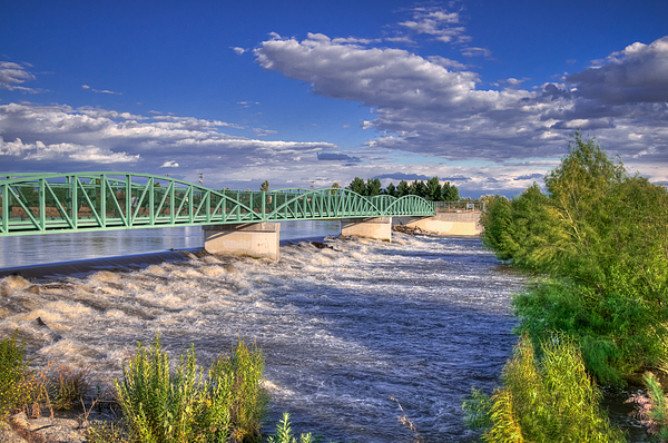 Flowing River And Bridge Print by Connie Cooper-Edwards