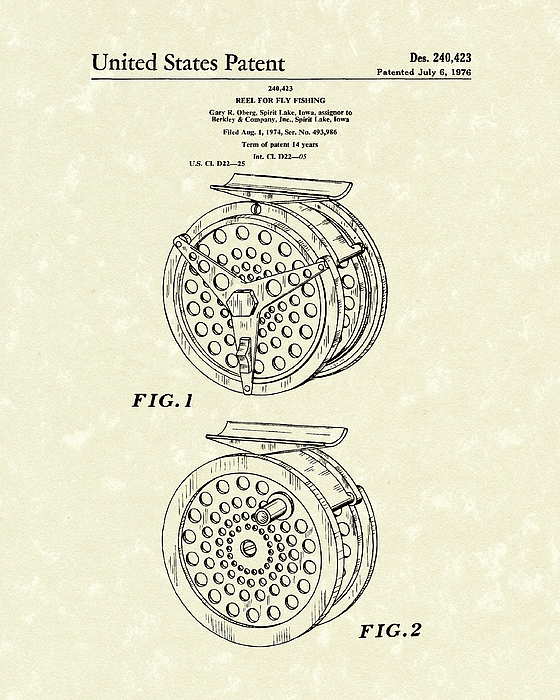 Fly Fishing Reel 1976 Patent Art Print by Prior Art Design