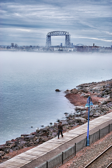 Foggy Lake Superior Afternoon Print by Shutter Happens Photography