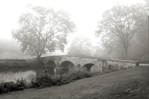 Foggy Morning At Burnside Bridge Print by Judi Quelland
