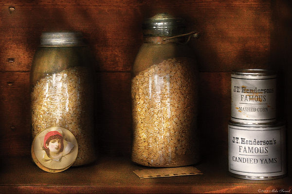 Food - Corn Yams And Oatmeal Print by Mike Savad