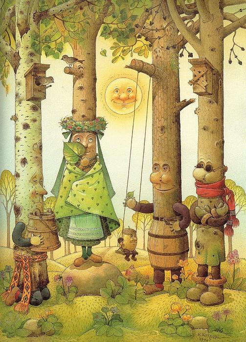 Four Trees Print by Kestutis Kasparavicius