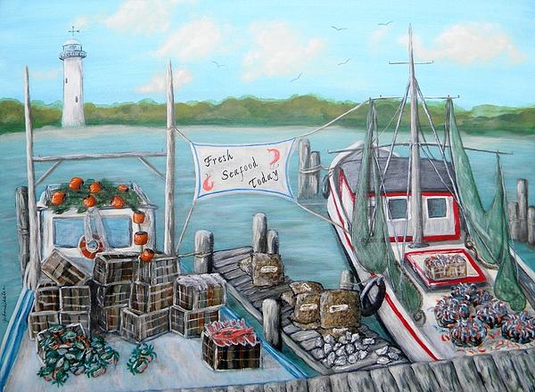 Fresh Seafood  Print by JoAnn Wheeler