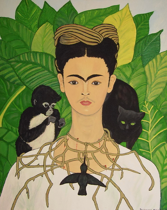 Stephanie Moore - Frida with Monkey and Cat