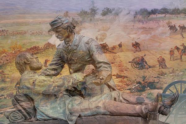 Friend To Friend Monument Gettysburg Battlefield Print by Randy Steele