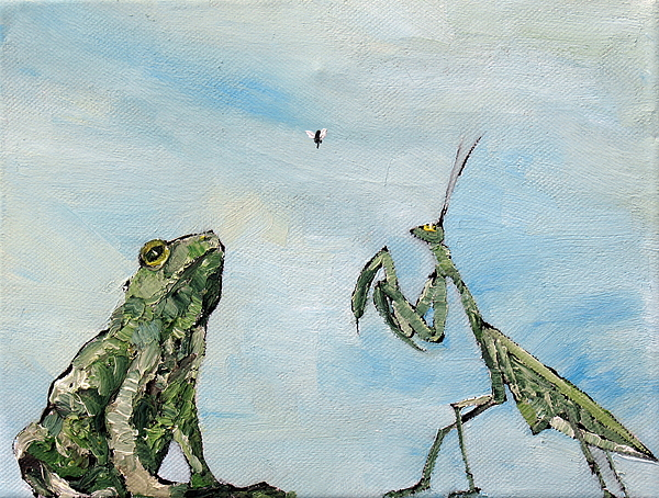 Frog Fly And Mantis Print by Fabrizio Cassetta