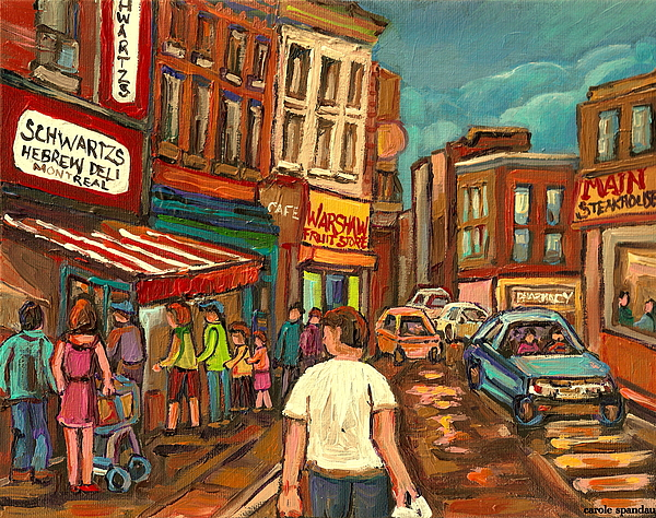 From Schwartz's To Warshaws To The  Main Steakhouse Montreal's Famous Landmarks By Carole Spandau  Print by Carole Spandau