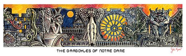 Gargoyles Of Notre Dame Print by John Keaton